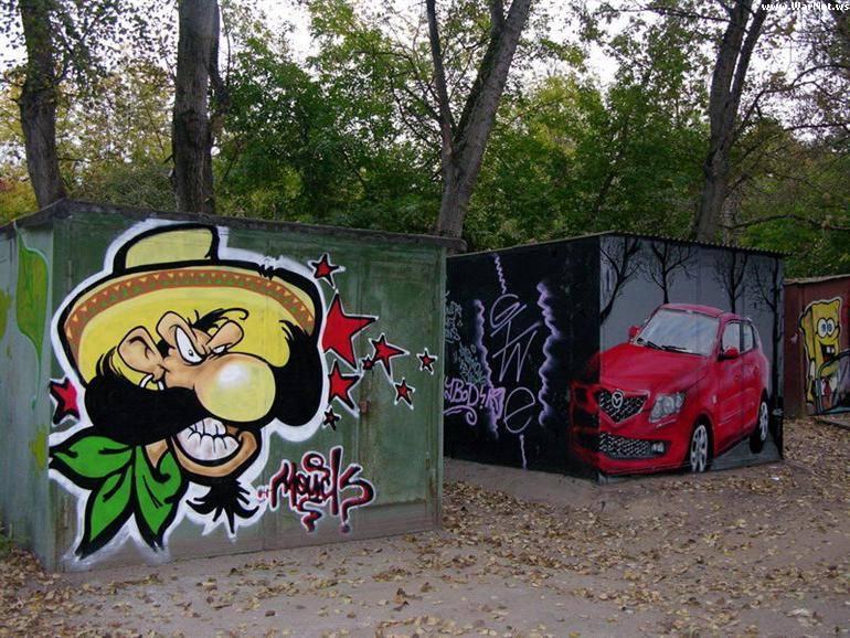 Рисунки на дверях гаража своими руками 83